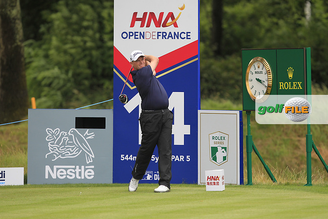 David Drysdale (SCO) on the 14th tee during Round 3 of the HNA Open De France  at The Golf National on Saturday 1st July 2017.<br /> Photo: Golffile / Thos Caffrey.<br /> <br /> All photo usage must carry mandatory copyright credit      (&copy; Golffile | Thos Caffrey)