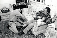 Carer & elderly man UK 1991