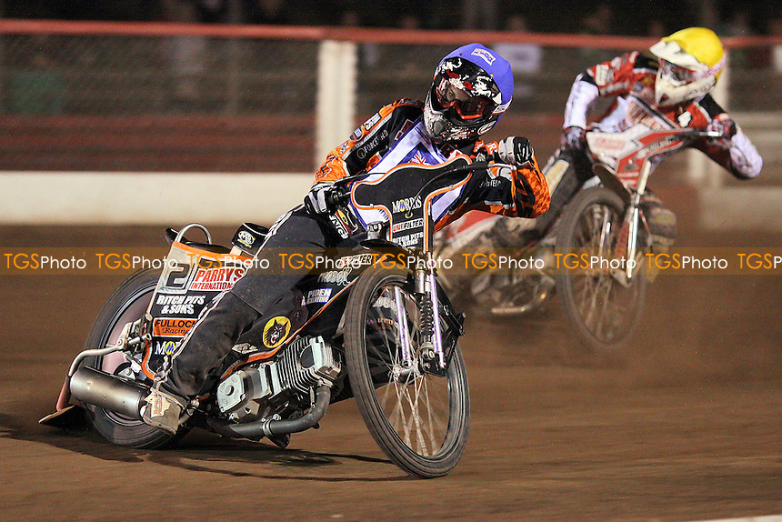 Heat 10: Ty Proctor (blue) and Linus Sundstrom (yellow) - Lakeside Hammers vs Peterborough Panthers - Elite League Speedway at Arena Essex Raceway - 19/08/11 - MANDATORY CREDIT: Gavin Ellis/TGSPHOTO - Self billing applies where appropriate - 0845 094 6026 - contact@tgsphoto.co.uk - NO UNPAID USE.