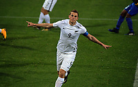 Chris Wood celebrates his first goal during the first leg of FIFA World Cup Russia 2018 qualifying football match between the New Zealand All Whites and Solomon Islands at QBE Stadium in Albany, New Zealand on Friday, 1 September 2017. Photo: Dave Lintott / lintottphoto.co.nz