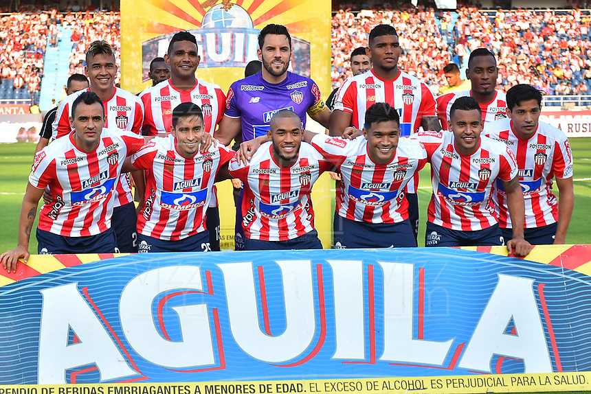 BARRANQUILLA- COLOMBIA, 24-03-2019:Formación del Atlético Junior ante el Atlético Huila  durante partido por la fecha 11 de La Liga Aguila I 2019 ,jugado en el estadio Metropolitano Roberto Meléndez de la ciudad de Barranquilla / Team of  Atletico Junior agaisnt of Atletico Huila  during match for the date 11 as part Aguila League I 2019 between Atletico Junior and  Atletico Huila played at Metropolitano Roberto Melendez  stadium in Barranquilla city.  Photo: VizzorImage /Alfonso Cervantes / Contribuidor