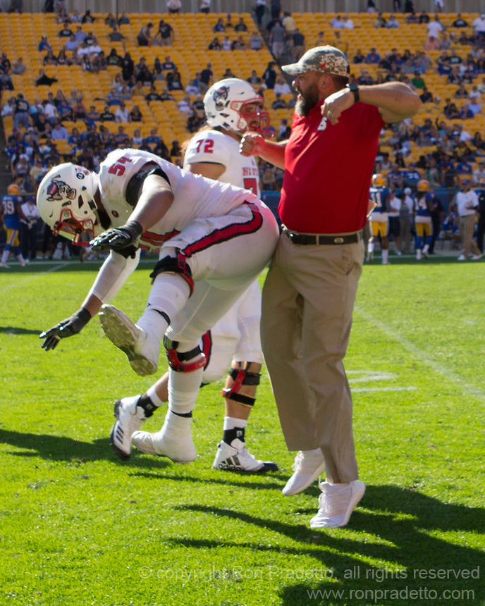 North Carolina State offensive lineman Will Richardson and coach celebrate Jaylen Samuels touchdown run.  The North Carolina Wolfpack defeated the Pitt Panthers 35-17 at Heinz Field, Pittsburgh, PA on October 14, 2017.