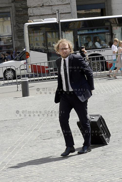 Roma, 18 Maggio 2015.<br /> Luca Lotti arriva a Palazzo Chigi<br />  Consiglio dei Ministri sul decreto per i rimborsi delle pensioni.