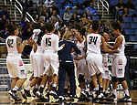 The Liberty Patriots celebrate after defeating Manogue High School 43-33 in the Division I semi-final game at the NIAA basketball state tournament at Lawlor Events Center, in Reno, Nev., on Thursday, Feb. 27, 2014. (Cathleen Allison/Las Vegas Review-Journal)