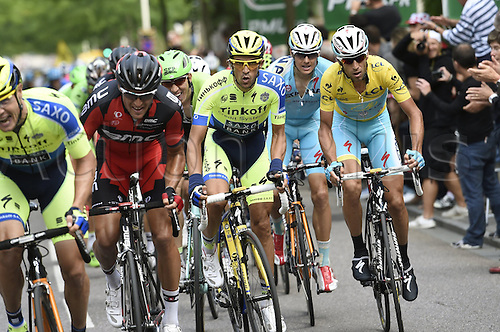 11.07.2014. Eperney to nancy, France. Tour de France cycling tour.  VAN AVERMAET Greg BEL of BMC Racing Team - CONTADOR Alberto ESP of Tinkoff-Saxo - VANMARCKE Sep BEL of Belkin-Pro Cycling Team - KWIATKOWSKI Michal of Omega Pharma - Quick-Step - NIBALI Vincenzo ITA of Astana Pro Team - VALVERDE Alejandro ESP of Movistar Team