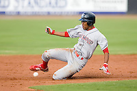 D'Arby Myers (24) of the Lakewood BlueClaws tries to beat the throw to second base versus the Kannapolis Intimidators at Fieldcrest Cannon Stadium in Kannapolis, NC, Sunday, May 11, 2008.  Myers was caught stealing.