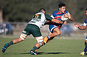 Joshua Gray takes on Peter White during the Counties Manukau Premier Club Rugby 'Game of the Week' between Ardmore Marist and Manurewa played at Bruce Pulman Park Papakura or Saturday May 4th 2019. Ardmore Marist won the game 34 - 25 after leading 21 - 6 at halftime. <br /> Photo by Richard Spranger.