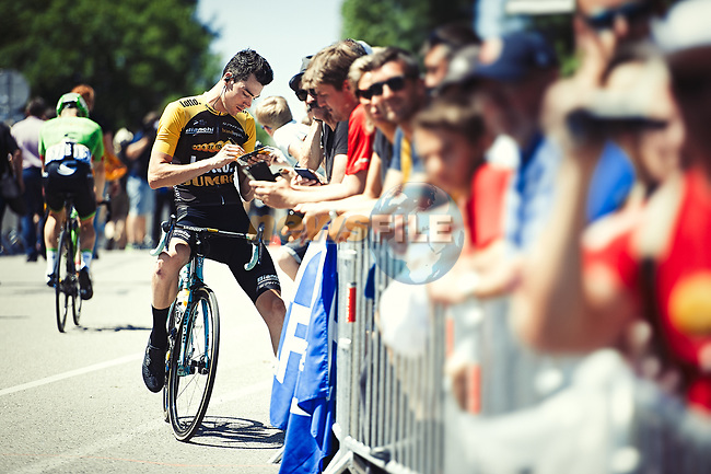 Timo Roosen (NED) Lotto NL-Jumbo with fans at sign on before the start of Stage 5 of the 104th edition of the Tour de France 2017, running 160.5km from Vittel to La Planche des Belles Filles, France. 5th July 2017.<br /> Picture: ASO/Pauline Ballet | Cyclefile<br /> <br /> <br /> All photos usage must carry mandatory copyright credit (&copy; Cyclefile | ASO/Pauline Ballet)