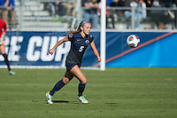 Cary, North Carolina - Sunday December 6, 2015: Maddie Elliston (5) of the Penn State Nittany Lions chases after the ball during second half action against the Duke Blue Devils at the 2015 NCAA Women's College Cup at WakeMed Soccer Park.  The Nittany Lions defeated the Blue Devils 1-0.