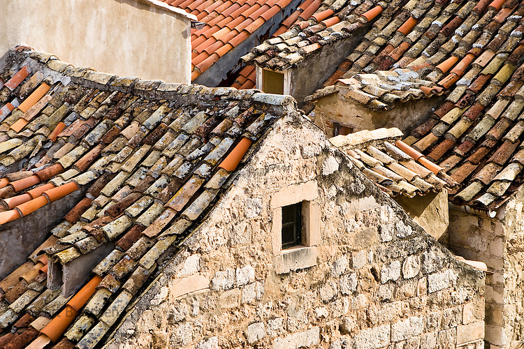Close-up of terra-cotta roofs in Dubrovnik's old town (stari grad), Croatia