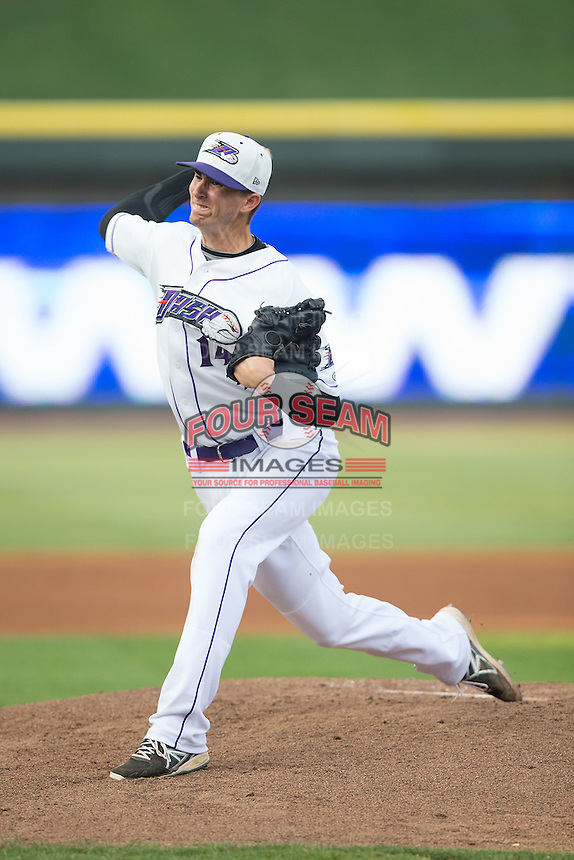 Winston-Salem Dash starting pitcher Jake Cose (14) in action against the Wilmington Blue Rocks at BB&T Ballpark on June 10, 2015 in Winston-Salem, North Carolina.  The Blue Rocks defeated the Dash 11-5.  (Brian Westerholt/Four Seam Images)