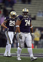 Oct 30, 20010:  Washington defensive tackle #74 Alameda Ta'amu walks on the field against Stanford.  Stanford defeated Washington 41-0 at Husky Stadium in Seattle, Washington...