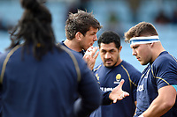 Donncha O'Callaghan of Worcester Warriors rallies his team-mates during the pre-match warm-up. Aviva Premiership match, between Harlequins and Worcester Warriors on October 28, 2017 at the Twickenham Stoop in London, England. Photo by: Patrick Khachfe / JMP