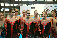 USA Senior Group poses for team portrait during awards ceremony at 2007 Genoa World Cup of Rhythmic Gymnastics Groups on June 9, 2007 at Genoa, Italy.  (Photo by Tom Theobald)