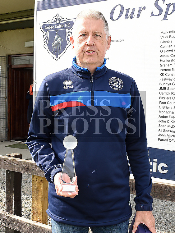 Ardee Celtic's John O'Callaghan with his Juvenile Club Person of the Year award at the club's Annual award presentations. Photo:Colin Bell/pressphotos.ie