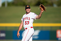 Mesa Solar Sox relief pitcher Brett Hanewich (53), of the Los Angeles Angels organization, during an Arizona Fall League game against the Peoria Javelinas at Sloan Park on November 6, 2018 in Mesa, Arizona. Mesa defeated Peoria 7-5 . (Zachary Lucy/Four Seam Images)
