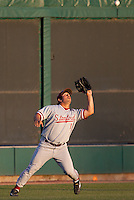 STOCKTON, CA - May 9, 2011: Dave Giuliani of Stanford baseball catches a fly ball to left field during Stanford's game against Pacific at Klein Family Field in Stockton. Stanford won 11-5.