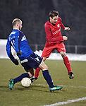 2018-03-03 / Voetbal / Seizoen 2017-2018 / FC Turnhout - Vosselaar / Tom Proost met Ruben Vaes (r. Vosselaar)<br /> <br /> ,Foto: Mpics.be
