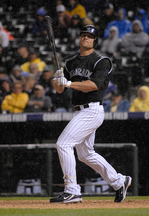 Colorado Rockies outfielder Matt Holliday appears frustrated during an at bat in the rain during a game against the St. Louis Cardinals at Coors Field in Denver, Colorado on May 6, 2008.