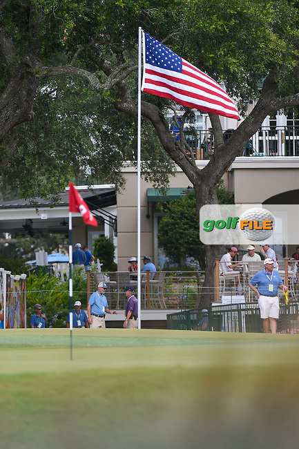 The U.S. flag and the pin flag on 9 wave in the early morning westerly breeze during round 2 of the 2019 US Women's Open, Charleston Country Club, Charleston, South Carolina,  USA. 5/31/2019.<br /> Picture: Golffile | Ken Murray<br /> <br /> All photo usage must carry mandatory copyright credit (© Golffile | Ken Murray)