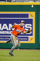Auburn Tigers outfielder Hunter Kelley #2 makes a running catch against the LSU Tigers in the NCAA baseball game on March 23, 2013 at Alex Box Stadium in Baton Rouge, Louisiana. LSU defeated Auburn 5-1. (Andrew Woolley/Four Seam Images).