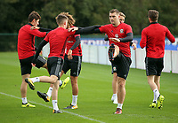 Pictured: Ben Woodburn and Sam Vokes warm up. Monday 02 October 2017<br /> Re: Wales football training, ahead of their FIFA Word Cup 2018 qualifier against Georgia, Vale Resort, near Cardiff, Wales, UK.