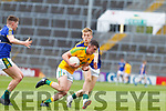 James Mitchell of Leitrim in action against Killian Spillane of Kerry. All Ireland Junior Championship Semi-Final, Kerry V Leitrim. 22/07/2017.
