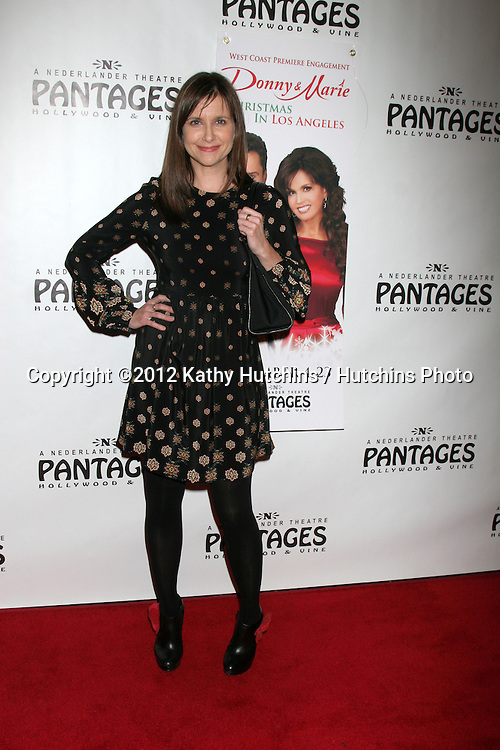 "LOS ANGELES - DEC 4:  Kellie Martin arrives to ""Donny & Marie - Christmas in Los Angeles"" Opening Night at Pantages Theater on December 4, 2012 in Los Angeles, CA"