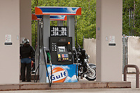 A Gulf gas station is pictured New Hampshire Thursday June 13, 2013. Even if the brand name still exist, Gulf Oil was a major global oil company before  it merged with Standard Oil of California (SOCAL) in 1985.