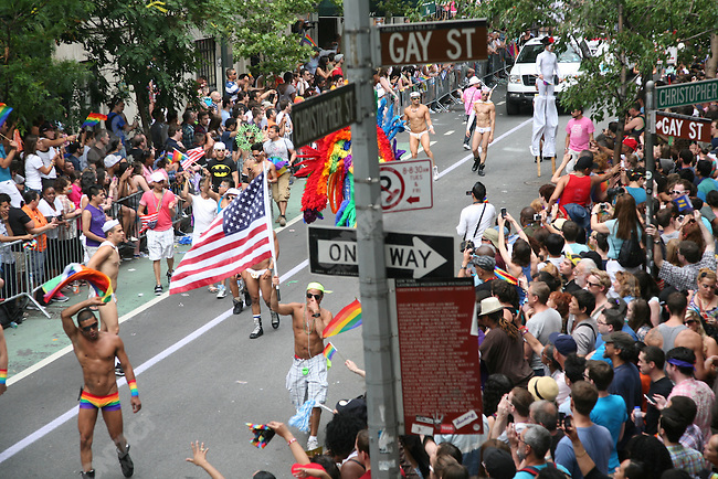 The 42nd annual gay pride parade in Greenwich Village, a few days after New York State legalized same-sex marriage. New York City, New York, USA, June 26, 2011
