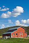 Red wooden barn with clouds, Snake Range, Nevada