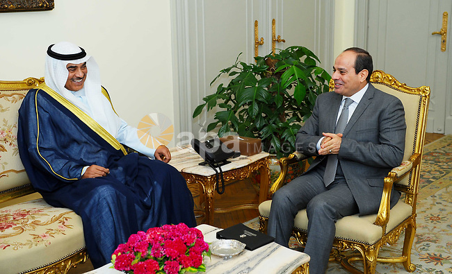 Egyptian President Abdel Fattah al-Sisi meets with Kuwait first deputy prime Minister and Minister for foreign affairs Sheikh Sabah Khalid al Hamad al Sabah, in Cairo, Egypt, on July 17, 2017. Photo by Egyptian President Office