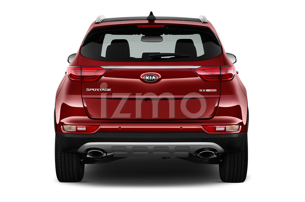 Straight rear view of a 2019 KIA Sportage SX Turbo 5 Door SUV stock images