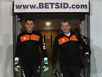 Blackpool's Myles Boney and Blackpool's Dave Timmins<br /> <br /> Photographer Rachel Holborn/CameraSport<br /> <br /> The EFL Checkatrade Trophy Group C - Blackpool v Accrington Stanley - Tuesday 13th November 2018 - Bloomfield Road - Blackpool<br />  <br /> World Copyright © 2018 CameraSport. All rights reserved. 43 Linden Ave. Countesthorpe. Leicester. England. LE8 5PG - Tel: +44 (0) 116 277 4147 - admin@camerasport.com - www.camerasport.com