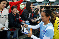 Mele French (19) of Sky Blue FC signs autographs for fans after the game. The Los Angeles Sol defeated Sky Blue FC 2-0 during a Women's Professional Soccer match at TD Bank Ballpark in Bridgewater, NJ, on April 5, 2009. Photo by Howard C. Smith/isiphotos.com