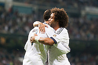 Cristiano and Marcelo celebrating penalty goal