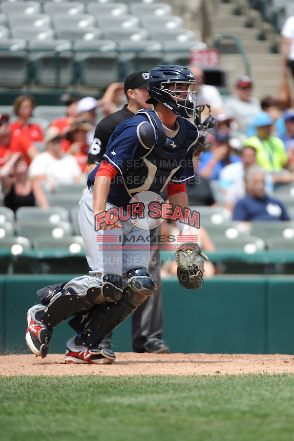 New Hampshire Fisher Cats catcher Jack Murphy (39) during game against the Trenton Thunder at ARM & HAMMER Park on June 22, 2014 in Trenton, NJ.  New Hampshire defeated Trenton 7-2.  (Tomasso DeRosa/Four Seam Images)