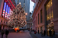 New York, NY - 12 December 2008 Wall Street at Christmas time