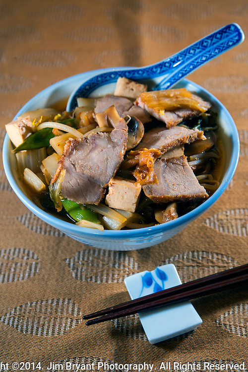 Spicy  Sapporo Ramen soup with bamboo shoots, bean sprouts, onions, tofu, Bok Choy, pork.  ©2014. Jim Bryant Photo. All Rights Reserved