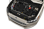 Car stock 2018 Ford Fusion SE 4 Door Sedan engine high angle detail view