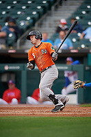 Norfolk Tides Zach Vincej (5) at bat during an International League game against the Buffalo Bisons on June 21, 2019 at Sahlen Field in Buffalo, New York.  Buffalo defeated Norfolk 2-1, the first game of a doubleheader.  (Mike Janes/Four Seam Images)