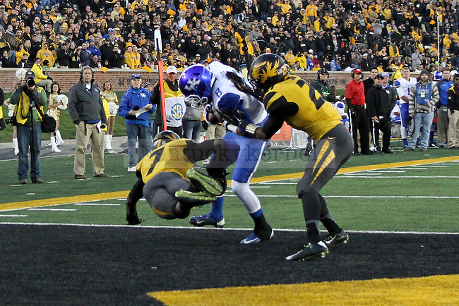 Kentucky wide receiver Javess Blue catches a touchdown during the second half of the University of Kentucky vs. Missouri football game at Faurot Field in Columbia, MO., on Saturday, November 1, 2014. Photo by Jonathan Krueger | Staff