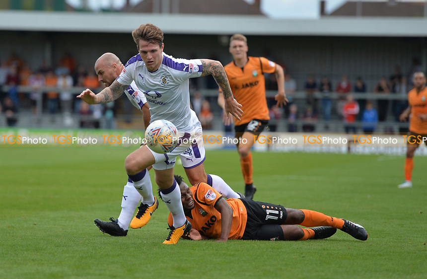 Shaquile Coulthirst of Barnet falls during Barnet vs Luton Town, Sky Bet EFL League 2 Football at the Hive Stadium on 12th August 2017
