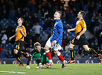 Barrie McKay rounds off the scoring as he celebrates putting away goal no 7 as Alloa are dejected