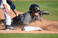 Alabama State Hornets shortstop PJ Biocic (1) slides into third during a game against the Cal State Fullerton Titans on February 14, 2015 at Bright House Field in Clearwater, Florida.  Biocic was called out on the play.  Alabama State defeated Cal State Fullerton 3-2.  (Mike Janes/Four Seam Images)