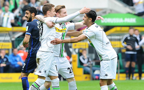 03.04.2016. Monchengladbach, Germany.  Bundesliga Football. Borussia Monchengladbach versus Hertha Berlin.  Thorgan Hazard Gladbach After his goal for 1 0