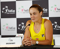 9th November 2019; RAC Arena, Perth, Western Australia, Australia; Fed Cup by BNP Paribas Tennis Final, Day 1, Australia versus France; Ash Barty of Australia at her press conference after her win against Caroline Garcia of France in the second rubber 6-0 6-0