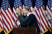 Democratic Presidential candidate Hillary Clinton hugs Democratic Vice Presidential nominee United States Senator Tim Kaine (Democrat of Virginia) as she arrives on stage to deliver her concession speech Wednesday, from the New Yorker Hotel's Grand Ballroom in New York city , NY, on November 9, 2016.  <br /> Credit: Olivier Douliery / Pool via CNP