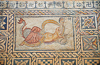 "4th century AD Roman mosiac of a Nereid or sea nymph sitting on the tail of a fish, found near the Roman Baths of Villa ""Las Tiendas, Merida Archaeological Museum, Spain"