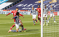 Fulham's Aleksandar Mitrovic (left) is tackled by  West Bromwich Albion's Ahmed Hegazy <br /> <br /> Photographer Andrew Kearns/CameraSport<br /> <br /> The EFL Sky Bet Championship - West Bromwich Albion v Fulham - Tuesday July 14th 2020 - The Hawthorns - West Bromwich <br /> <br /> World Copyright © 2020 CameraSport. All rights reserved. 43 Linden Ave. Countesthorpe. Leicester. England. LE8 5PG - Tel: +44 (0) 116 277 4147 - admin@camerasport.com - www.camerasport.com